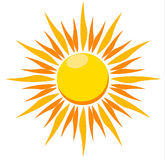 Blazing sun vector illustration. A vector illustration of a blazing hot sun on a white background Royalty Free Stock Photos