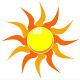 Blazing sun vector illustration. A vector illustration of a blazing hot sun on a white background Stock Images