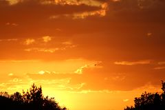 Blazing sunset in June Royalty Free Stock Photo
