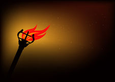 Blazing torch in darkness Royalty Free Stock Photo