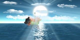 Blazing wireframe ship over sea blue sky. Blazing wireframe ship over sea floating dreaming with semi-cloudy blue sky Stock Photo