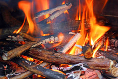 Blazing wood fire. Royalty Free Stock Images