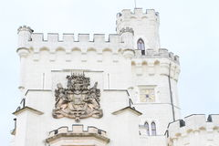Blazon on tower of palace Hluboka Royalty Free Stock Photo