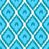 Blbe en het witte eenvoudige geometrische naadloze patroon van de ikat Aziatische traditionele stof, vector royalty-vrije illustratie