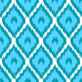 Blbe and white simple geometric ikat asian traditional fabric seamless pattern, vector Royalty Free Stock Photo