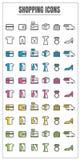 Blck farbe der Ikonen Einkaufsblauer rosa Gelbgrünvektor auf Weiß Stockfotografie