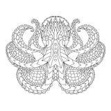 bläckfisk Mönstrad vektorillustration för person som tillhör en etnisk minoritet Royaltyfria Bilder
