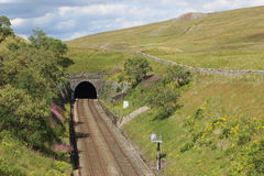 Blea Moor tunnel, Settle to Carlisle railway. Looking along the Settle to Carlisle railway to the southern entrance to the 1 mile 880 yards long Blea Moor tunnel stock image