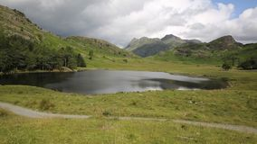 Blea Tarn between Great Langdale and Little Langdale Lake District Cumbria England UK. Surrounded by pikes stock video footage