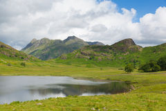 Blea Tarn and Langdale Pikes Lake District Cumbria England UK between Great Langdale and Little Langdale Stock Images