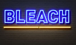 Bleach neon sign on brick wall background. Royalty Free Stock Photography