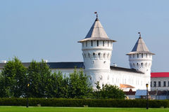 Bleached round towers of the Tobolsk Kremlin, Russia. Royalty Free Stock Images