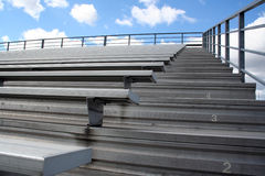 Bleachers. Aluminum bleachers near a football field royalty free stock photography