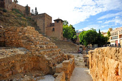The bleachers of the Roman Theatre and Alcazaba, Malaga, Andalusia, Spain Royalty Free Stock Image