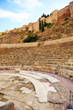 The bleachers of the Roman Theatre and Alcazaba, Malaga, Andalusia, Spain Royalty Free Stock Photos