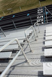 Bleachers at Track Field. View of track lanes from high in the bleachers Royalty Free Stock Image