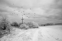 Bleak. Shot of a bleak winter landscape with waiside cross stock photo