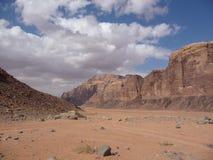 Bleak desert landscape in Wadi Rum, Jordan, in the Middle East Royalty Free Stock Photo