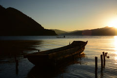 The bleam in the morning at Lugu lake Royalty Free Stock Photography