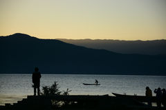 The bleam in the morning at Lugu lake Stock Photography