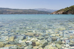 Blear blue waters on the island of Samos, Greece Stock Images