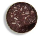 Blechdose mit Blutwurst Stockbild
