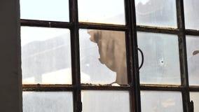 Blechdoseschlagende und zusammenstoßende Glasfensterscheibe stock video