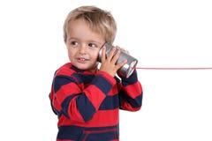 Blechdosetelefon Stockfoto