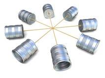 Blechdosetelefone miteinander angeschlossen 3d übertragen Stockfotografie