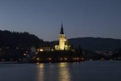 Bled夜视图  免版税库存图片