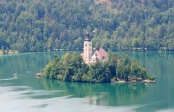 Bled湖的小的海岛 库存图片