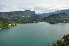 Bled. Beautiful views of the Alps and church from Lake Bled Stock Image