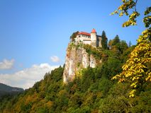 Bled Castle. Hanging over a cliff in Slovenia stock photography