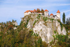 Bled castle. Above the lake Bled (Slovenia) is a medieval castle, built on rocky precipice over the lake Bled a thousand years ago. It is a favorite touristic stock photos