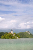 Bled with a castle behind Royalty Free Stock Images