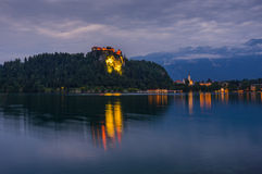 Bled Castle at Bled Lake in Slovenia at Night Stock Images