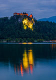 Bled Castle at Bled Lake in Slovenia at Night Royalty Free Stock Photos