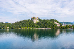 Bled Castle at Bled Lake in Slovenia Reflected on Water Royalty Free Stock Image
