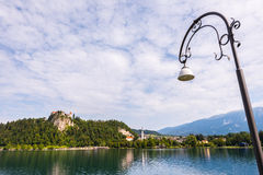 Bled Castle at Bled Lake in Slovenia with Street Lamp Royalty Free Stock Photos