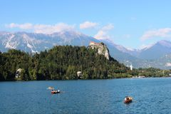 Bled Castle from boat on Lake Bled, Slovenia Royalty Free Stock Photo