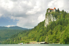 Bled castle on the cliff Stock Photos