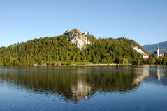 Bled castle on the cliff Royalty Free Stock Images