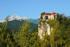 Bled castle on the cliff Royalty Free Stock Image