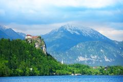 Bled castle cliff Royalty Free Stock Photos