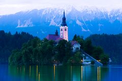 Bled castle in the dark Royalty Free Stock Images