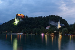 Bled Castle at dusk Royalty Free Stock Photo