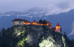 Bled castle, Alps, Europe, Slovenia. Bled castle at evening  , Alps, Europe, Slovenia Stock Images