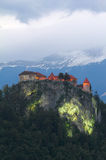 Bled castle at evening , Alps. Royalty Free Stock Photo