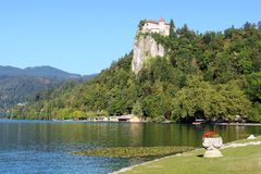 Bled Castle from Lake Bled shore at Bled, Slovenia Royalty Free Stock Photography