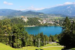 Bled Castle, lake and chairlift up Straza, Slovenia Royalty Free Stock Images